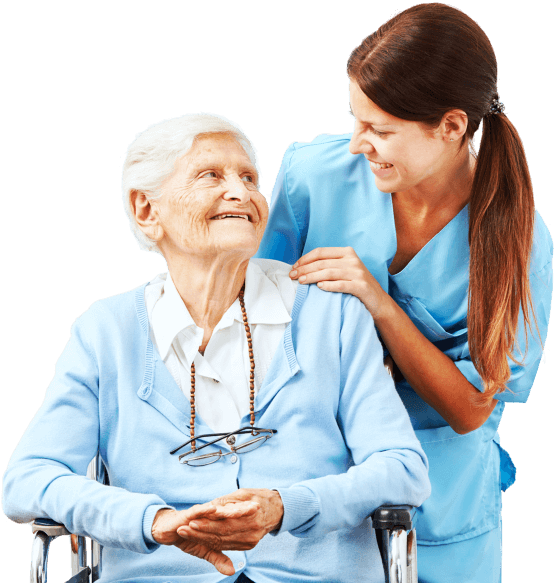 happy senior woman and caregiver