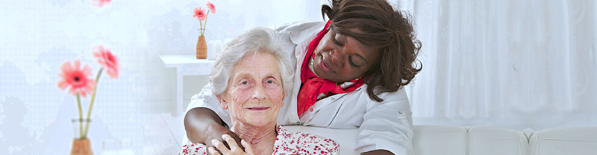 caregiver taking care of a senior woman